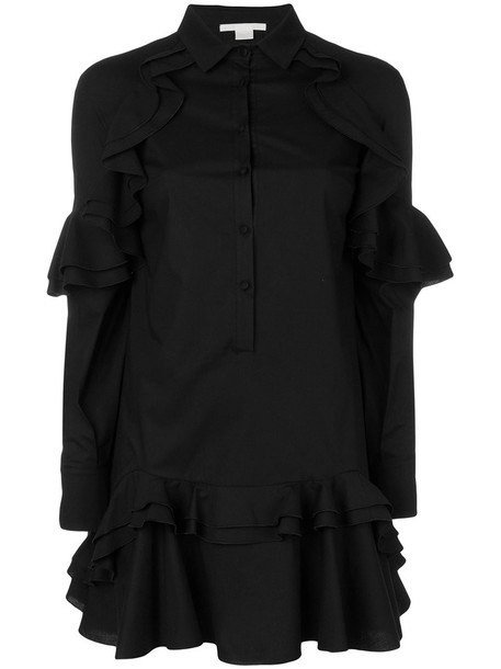 Antonio Berardi dress shirt dress ruffle women spandex cotton black