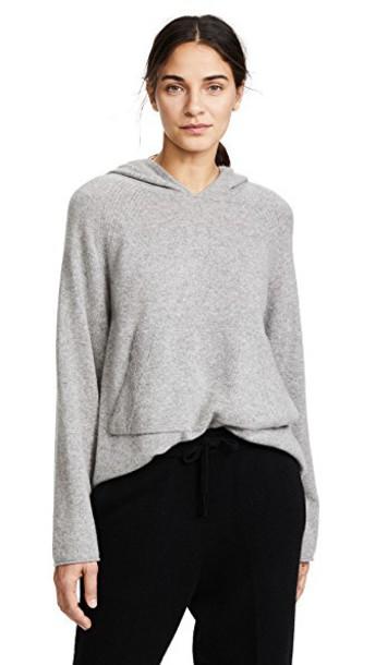 White + Warren hoodie white grey sweater