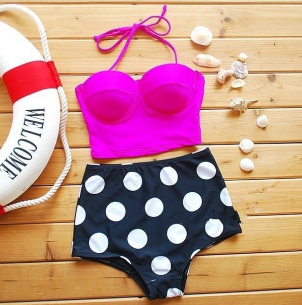 swimwear swimming cute high waisted bikini navy navy white beach polka dots magenta bag