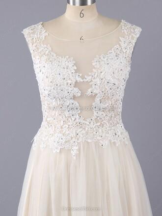 dress white elegant beautiful formal dress gown lace tulle dress romantic wedding dressofgirl