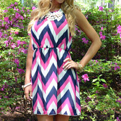 dress,chevron,halter dress,fit and flares,summer,spring,trendy,stylish,beach,feminine,pretty,navy pink chevron