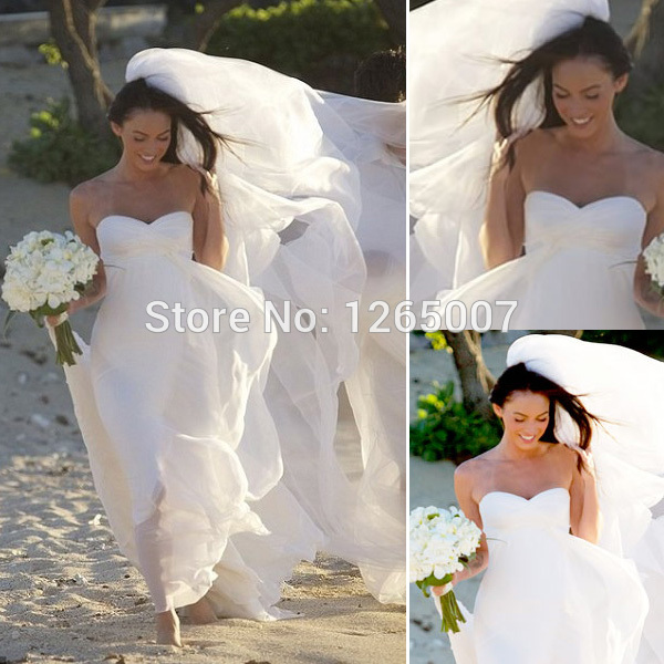 Aliexpress.com : Buy Megan Fox Sweetheart Ruffles Top Empire Beach Chiffon Simple Informal Wedding Dresses from Reliable dress and jacket for wedding suppliers on SFBridal