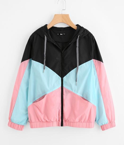 jacket girly windbreaker zip zip up jacket hoodie black pink blue