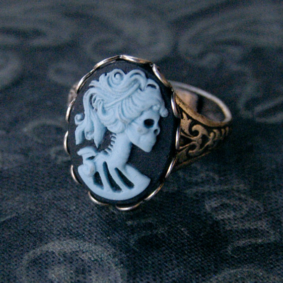 Skeleton Lady Cameo Ring Blue and Silver by ragtrader on Etsy