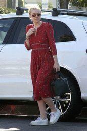 dress,red dress,red,midi dress,sneakers,dakota fanning,long sleeve dress,fall outfits,streetstyle