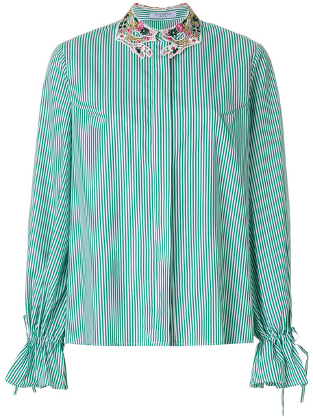 VIVETTA shirt women drawstring cotton green top