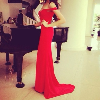 dress long red dress red dress red long prom dress prom dress red long prom dress off the shoulder dress special occasion form fitting train glamour