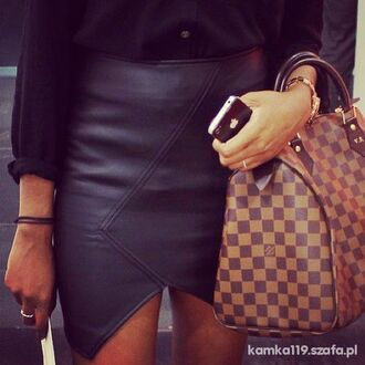 skirt asymetric black skirt black leather skirt louis vuitton asymmetrical leather bag