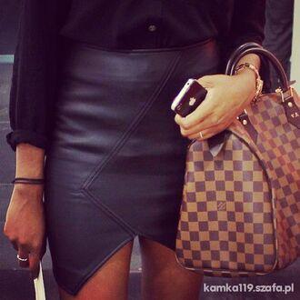 skirt black leather skirt louis vuitton asymmetrical leather bag