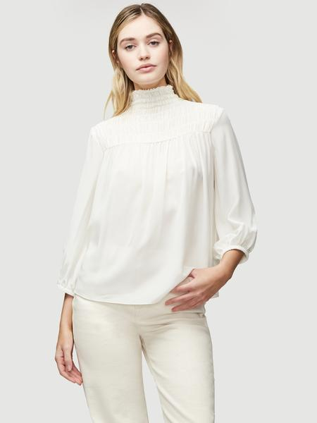 Silk Smocked 3/4 Sleeve Blouse Off White