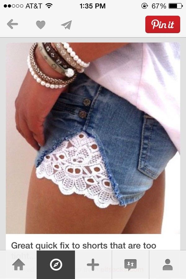 shorts lace shorts with lace jeans denim