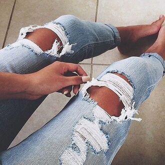 jeans holes ripped ripped jeans blue jeans