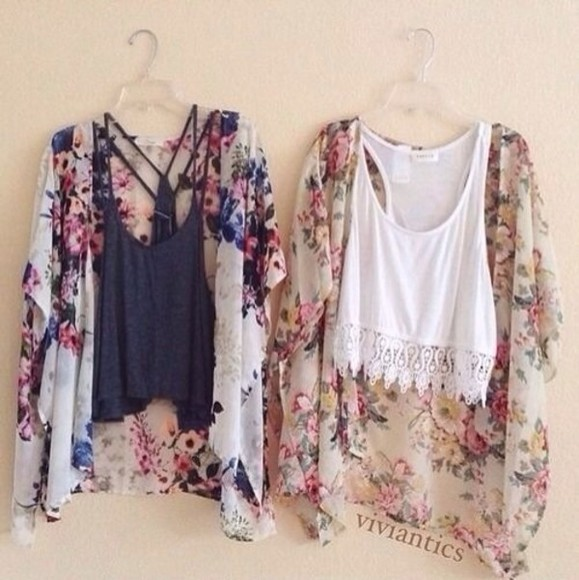 top kimono jacket floral kimono blouse t-shirt tank top black white black top black tank top white top floral lace shirt white lace crop top floral sweater cardigan summer outfits indie hipster
