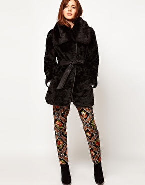 ASOS Fur Coat With PU Belt at ASOS