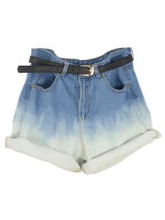 Blue Dip Dye High Waist Oversized Denim Shorts - Choies.com
