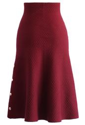 skirt,studs waffle knit midi skirt in wine,chicwish,red skirt,midi skirt,white midi skirt
