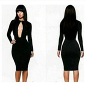dress,bombshell,keyhole dress,plunge dress,bodycon dress,little black dress,aliexpress,bodycon,midi dress,black and white,sexy,clubwear,front-out,party dress,small black dress,black dress,sexy dress,black,cobalt blue,black tight dress,knee length dress