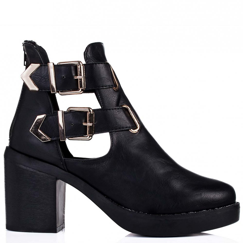Buy HADLEY Block Heel Cut Out Biker Ankle Boots Black Leather Style Online
