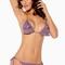 Purple halter ruffled layers bikini swimsuit