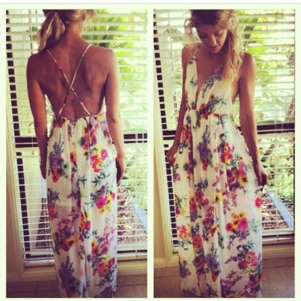Maxi Ancient Greek Style Dress With Deep Neckline And: Dress: Maxi Dress, Floral, Open Back Dresses, Deep Plunge