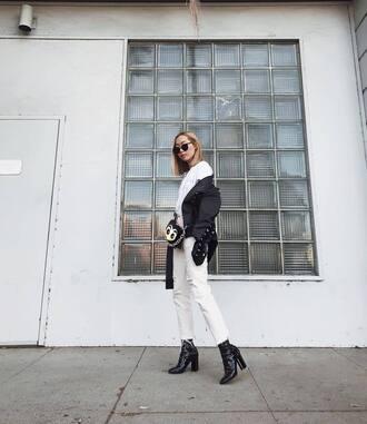 jacket tumblr black jacket top white top jeans white jeans cropped jeans boots black boots sunglasses