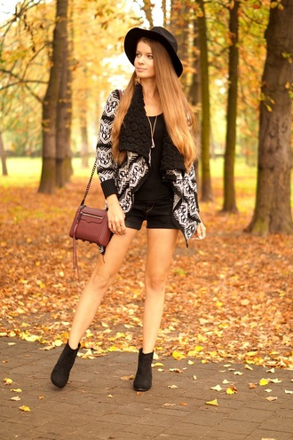 only my fashion style blogger cardigan hat bag shoes