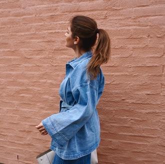 jacket blue jacket denim jacket bell sleeves bag white bag ponytail hairstyles tumblr
