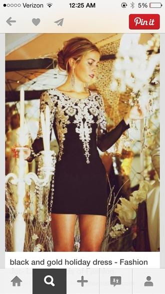 dress gold cutw cute little black dress black prom dress homecoming dress long sleeve dress black and gold black and gold dress homecoming dress
