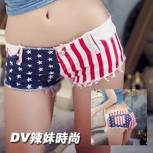 Free shipping /Shipping Hot VIVI magazine New American flag printed fashion washed Denim jeans hot pants for Summer-in Shorts from Apparel & Accessories on Aliexpress.com