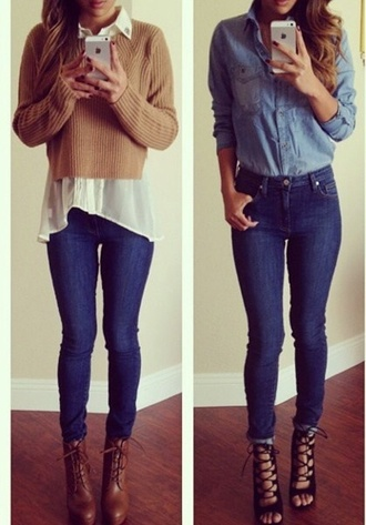 blouse fall outfits pullover denim blouse high waisted jeans outfit white collar