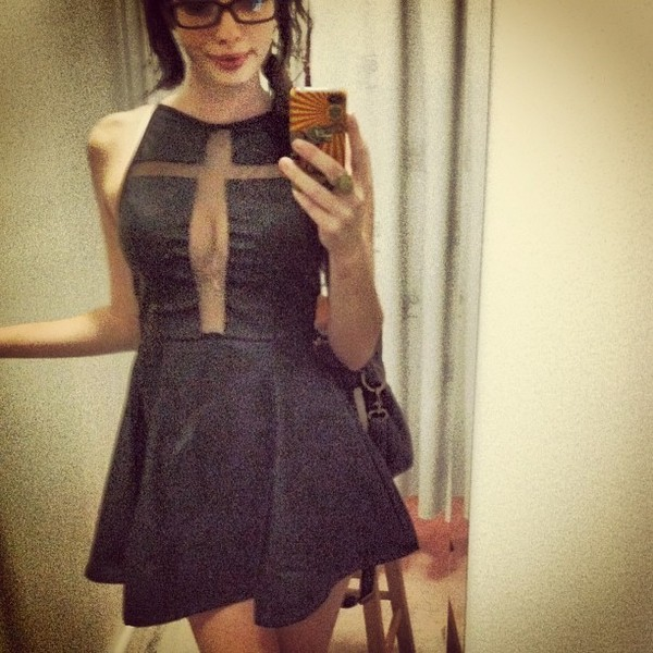 dress black dress skater dress cross front mesh faux leather