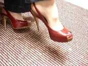 shoes,leather,slingbacks,open toes,red shoes