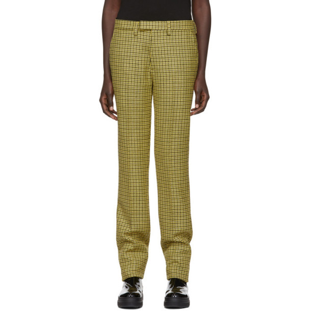 wool yellow houndstooth pants