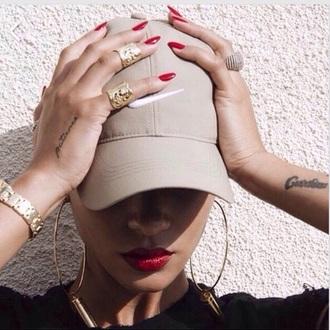 hat nike cap baseball cap cream hat beige cap swag nike nude nude hat cap nike hat beige tattoo rihanna red lipstick ring earrings