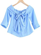 top,bow,blue,cute,fashion,summer,style,trendy,spring,crop tops,gamiss