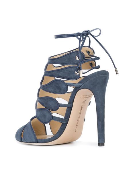 CHLOE GOSSELIN women sandals leather blue suede shoes