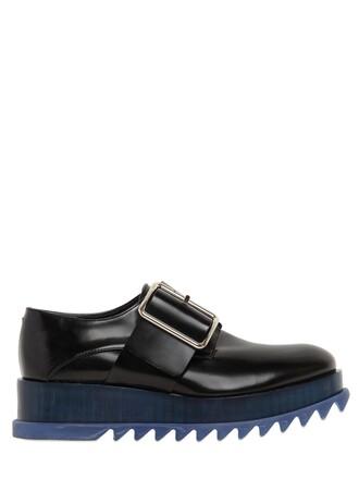 shoes platform shoes leather blue black