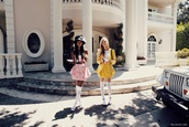 dress,pink,yello,pink dress,yellow dress,yellow skirt,skirt,blouse,white,short,shirt,cardigan,pretty,cute,oversized sweater,oversized cardigan,blonde hair,yellow,clueless,cher,dionne,stars
