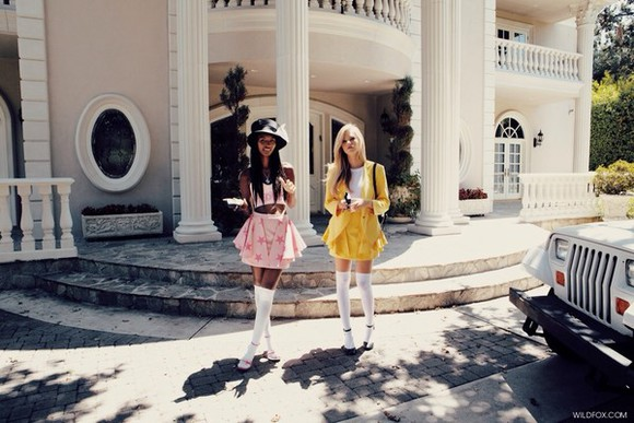 dress yellow dress pretty white blouse yellow skirt skirt shirt cute pink yello pink dress short cardigan oversized sweater oversized cardigan blonde hair
