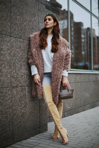 Coat: tina sizonova, blogger, jeans, bag, thigh high boots, lace ...
