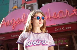 t-shirt pink t-shirt graphic tee pink quote on it pink sunglasses