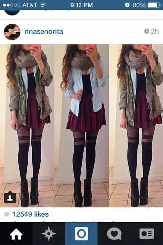jacket green jacket army green jacket blue sweater garnet skirt red skirt black tank top black stripped tights black striped leggings black high heeled shoe scarf blouse tank top skirt shoes pants