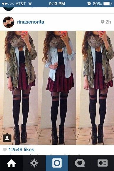pants shoes blue sweater jacket green jacket army jacket garnet skirt red skirt black tank top black stripped tights black striped leggings black high heeled shoe scarf blouse tank top skirt