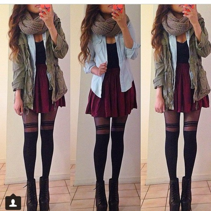 scarf shoes jacket pants tank top camo jacket skirt blouse green jacket blue sweater garnet skirt red skirt black tank top black stripped tights black striped leggings black high heeled shoe scarf red