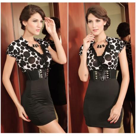 Noble Business Belt Black White Pencil Dress lml6048 - lol-malls - Trustful Online Shopping for Women Dresses
