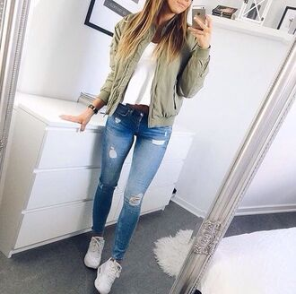 jacket green jacket jeans blue jeans ripped jeans blue pastel green olive green skinny jeans green bomber jacket bomber jacket beige khahi urgent help green cute jaket bomber jacket outfit white casual everyday back to school love ootd fashion colorful easy