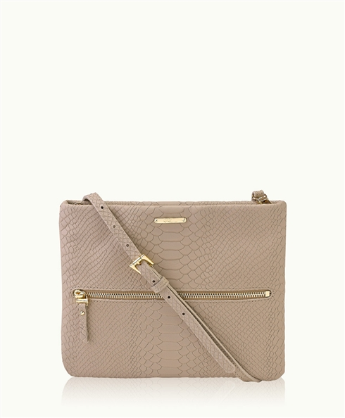 Stone Cross-Body Bag | Embossed Python Leather | GiGi New York