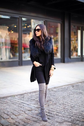 coat black fur jacket cardigan winter outfits grey boots