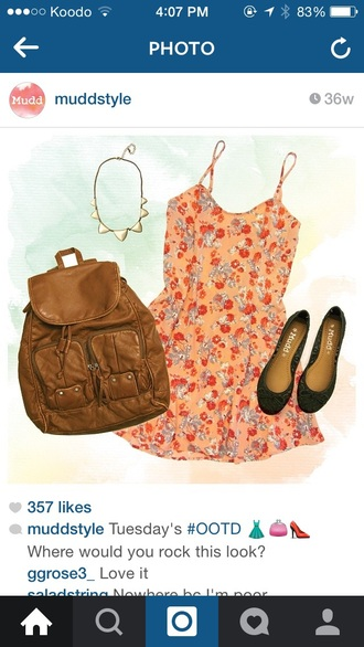 dress style flowered shorts backpack jewels bag