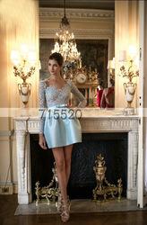 zuhair murad lange Ärmel spitze knielange abendkleider plissierten partei kleid neuankömmling 2013